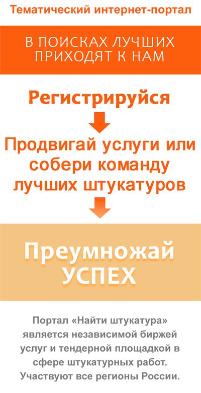 Портал «Найти штукатура» является независимой биржей услуг и тендерной площадкой в сфере штукатурных работ. Участвуют все регионы России.